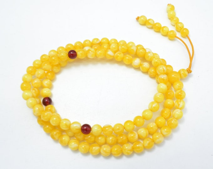 Amber Resin-Yellow, 6mm Round Beads, 23 Inch, Approx 108 beads, Full strand, Hole 1mm, Imitatiom Amber (113054003)