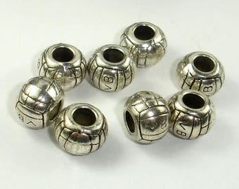 Metal Spacer-Drum, Metal Beads, Large Hole Spacer, Zinc Alloy, Antique Silver Tone, 11x8mm, 10 pcs, Hole 4.5mm (006852066)