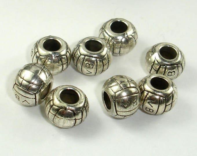 Metal Spacer-Drum, Metal Beads, Large Hole Spacer, Zinc Alloy, Antique Silver Tone, 11x8mm, 10 pcs, Hole 4.5mm (006852066)