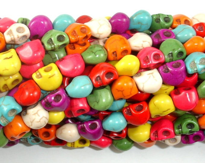 Howlite Skull Beads, Multi-color, 6x8, 15.5 Inch, Full strand, Approx 52 beads, Hole 1mm (275077011)
