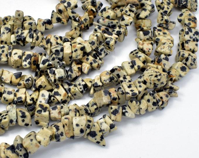 Dalmation Jasper Beads, 4-9mm Chips Beads, 34 Inch, Long Full strand, Hole 0.8mm (204005001)