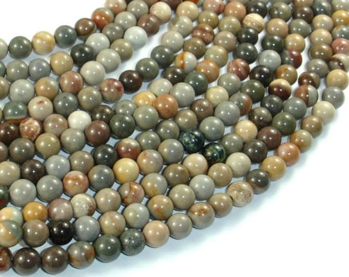 Silver Leaf Jasper Beads, 6mm(6.5mm) Round Beads, 15.5 Inch, Full strand, Approx 65 beads, Hole 1 mm (406054012)