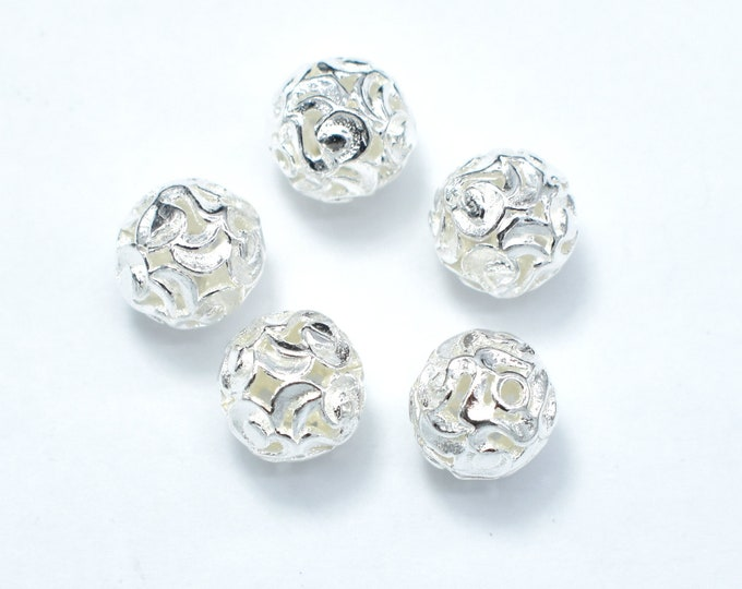 4pcs 8mm 925 Sterling Silver Beads, 8mm Round Beads, Jewelry Findings, Hole 1mm (007903004)
