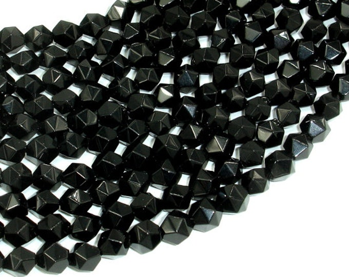 Black Onyx Beads, 8mm (7.5mm) Star Cut Faceted Round, 15 Inch, Full strand, Approx 50 beads, Hole 1mm (140186002)
