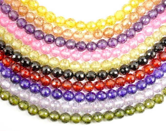 Cubic Zirconia Beads, CZ beads, 6 mm Faceted Round Beads, 6 Inch, 1 strand, 25 beads, Hole 0.8 mm, A quality (ROU0606)