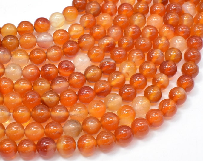 Carnelian Beads, Orange,  8mm (8.2mm) Round Beads, 15 Inch, Full strand, Approx 48 beads, Hole 1mm (182054026)