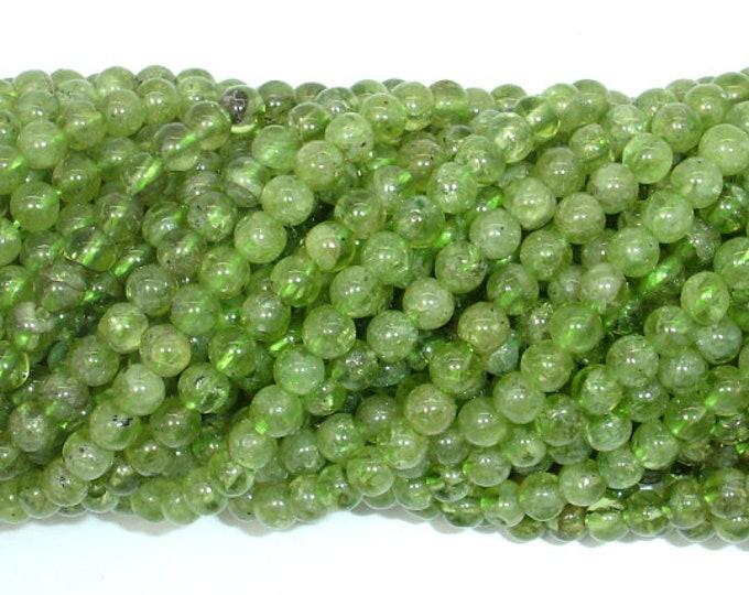 Peridot Beads, 4mm (4.5mm) Round Beads, 15.5 Inch, Full strand, Approx 92 beads, Hole 0.6mm (342054008)
