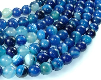 Banded Agate Beads, Blue, 10mm(10.5mm) Round Beads, 15.5 Inch, Full strand, Approx 38 beads, Hole 1mm (132054045)