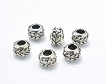 10pcs 925 Sterling Silver Beads-Antique Silver, 4mm Rondelle Beads, Spacer Beads, 4x3mm, Hole 1.8mm (007903013)