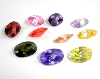 CZ beads, Cubic Zirconia Beads, Faceted Oval Beads, Pointed Back, 8x12 mm, 4 pieces, Hole 0.8mm, A Grade (OS0812)