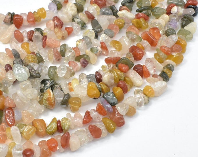 Mixed Rutilated Quartz, 4-9mm Chips Beads, 32 Inch, Long Full strand, Hole 0.8mm (396005002)