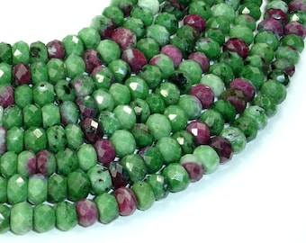 Ruby Zoisite Beads, Approx 4.5mm x 7mm Faceted Rondelle Beads, 16.5 Inch, Full strand, Approx 90 beads, Hole 1 mm, AA quality (394024003)