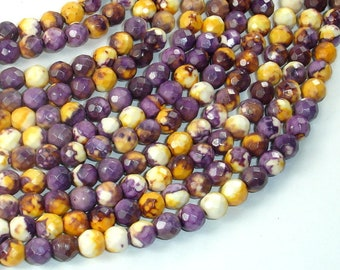 Rain Flower Stone Beads, Purple, Yellow, 6mm (6.2mm) Faceted Round Beads, 15 Inch, Full strand, Approx 64 beads, Hole 1mm(377025001)