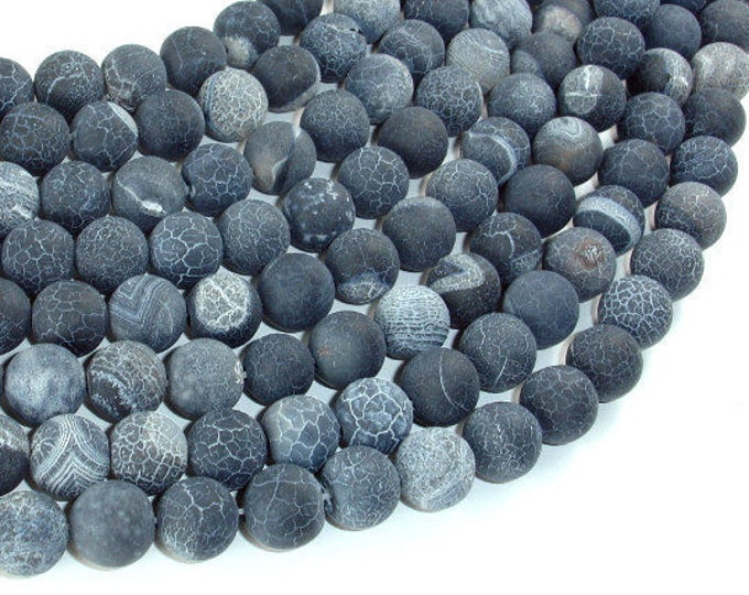 Frosted Matte Agate - Gray, 10mm Round Beads, 14.5 Inch, Full strand, Approx 37 beads, Hole 1 mm (122054222)