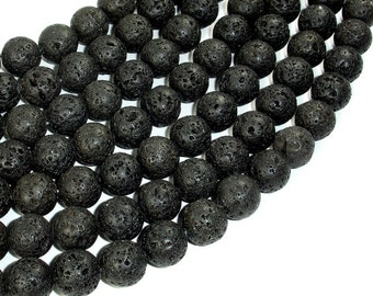Black Lava Beads, 12mm Round Beads, 15.5 Inch, Full strand, Approx 32 beads, Hole 1mm (300054023)