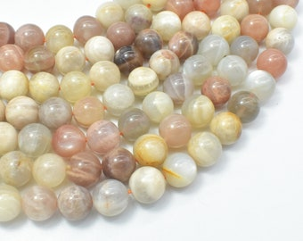 Mixed Moonstone Sunstone-Peach, White, Gray, 10mm (10.3mm) Round Beads, 15.5 Inch, Full strand, Approx 37-39 beads, Hole 1mm (321054035)