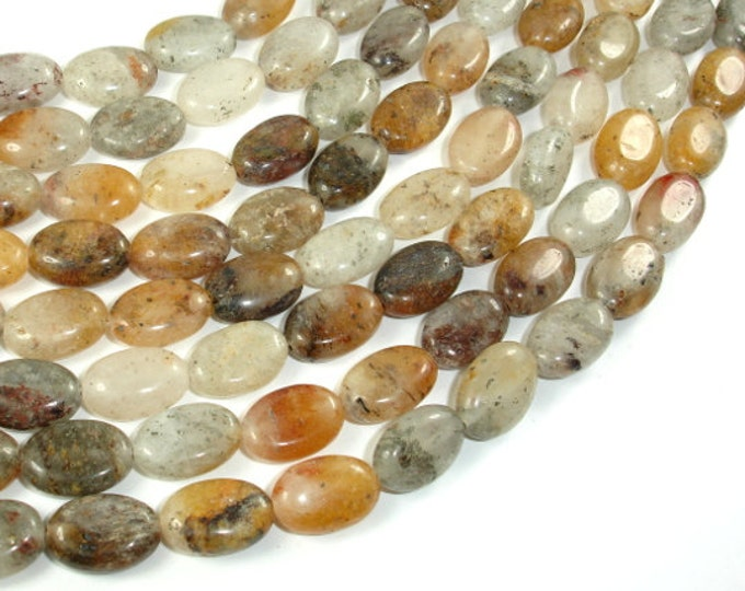 Lodolite Quartz, 10x14mm Oval Beads, 15.5 Inch, Full strand, Approx 28 beads, Hole 1mm (178030003)