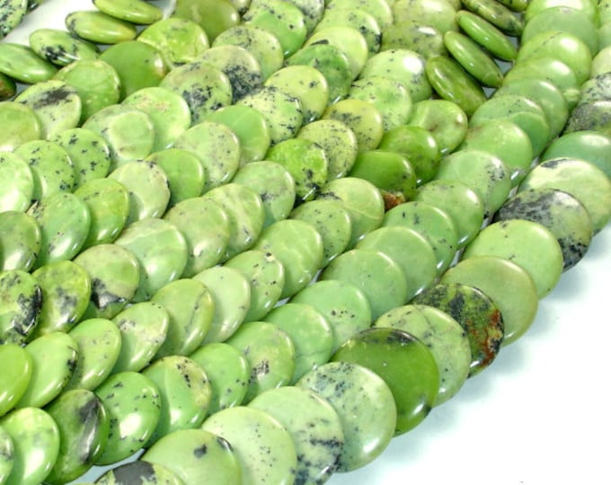 Chrysoprase Beads, Overlapping Lentil, 16mm, 15.5 Inch, Full strand, Approx 42 beads, Hole 1 mm (190142001)