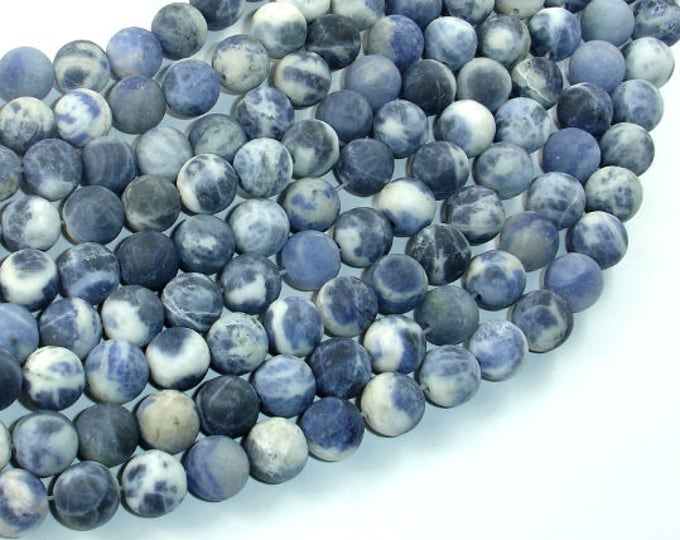 Matte Sodalite Beads, 8mm (8.5mm) Round Beads, 15.5 Inch, Full strand, Approx 47 beads, Hole 1mm (411054018)