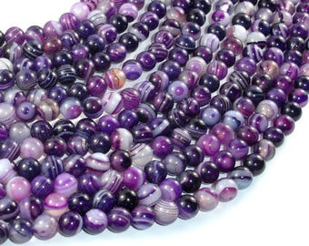 Banded Agate Beads, Purple, 6mm(6.5mm) Round Beads, 15.5 Inch, Full strand, Approx 63 beads, Hole 1mm (132054041)