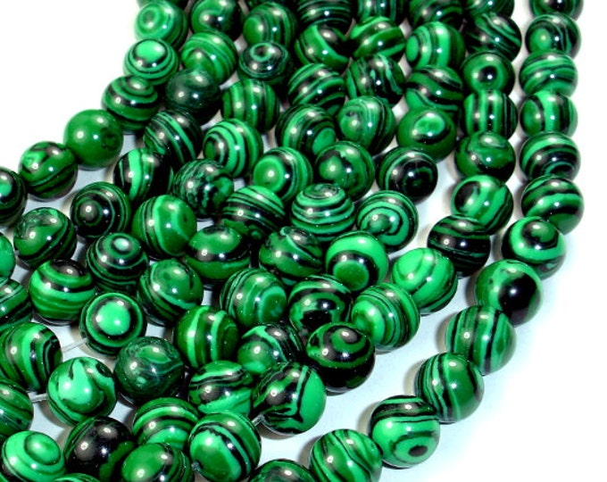 Malachite Beads - Synthetic, Round, 8mm, 15.5 Inch, Full strand, Approx 50 beads, Hole 1 mm (312054010)
