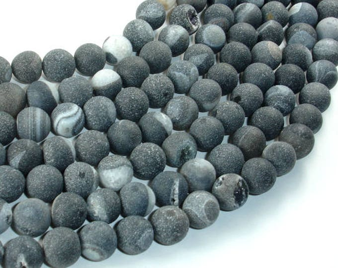 Druzy Agate Beads, Geode Beads, Black, 10mm(10.6mm) Round Beads, 15.5 Inch, Full strand, Approx 38 beads, Hole 1mm (122054251)