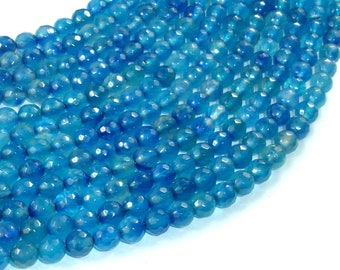 Blue Agate Beads, 6mm Faceted Round Beads, 15 Inch, Full strand, Approx 62 beads, Hole 1 mm (122025295)