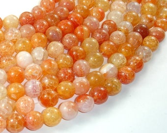 Dragon Vein Agate Beads-Orange, 10mm(10.3mm) Round Beads, 15 Inch, Full strand, Approx 38 beads, Hole 1mm (122054119)