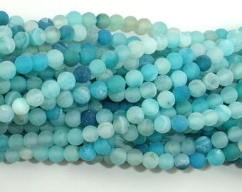 Frosted Matte Agate - Light Blue, 4mm(4.3mm) Round Beads, 15 Inch, Full strand, Approx 93 beads, Hole 0.8mm (122054255)