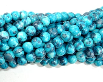 Rain Flower Stone Beads, Blue, 6mm (6.5 mm) Round Beads, 15.5 Inch, Full strand, Approx 64 beads, Hole 1 mm, A quality (377054005)