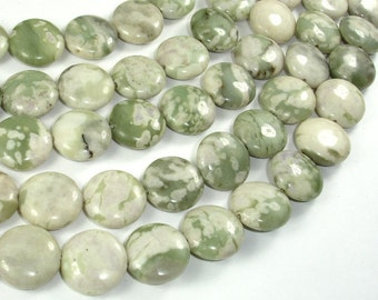 Peace Jade Beads, 16mm Coin Beads, 15.5 Inch, Full strand, Approx 25 beads, Hole 1mm, A quality (338008001)
