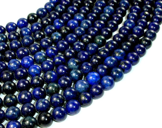 Lapis Lazuli Beads, Round, 8mm (8.5 mm), 15.5 Inch, Full strand, Approx 46 beads, Hole 1 mm (298054003)