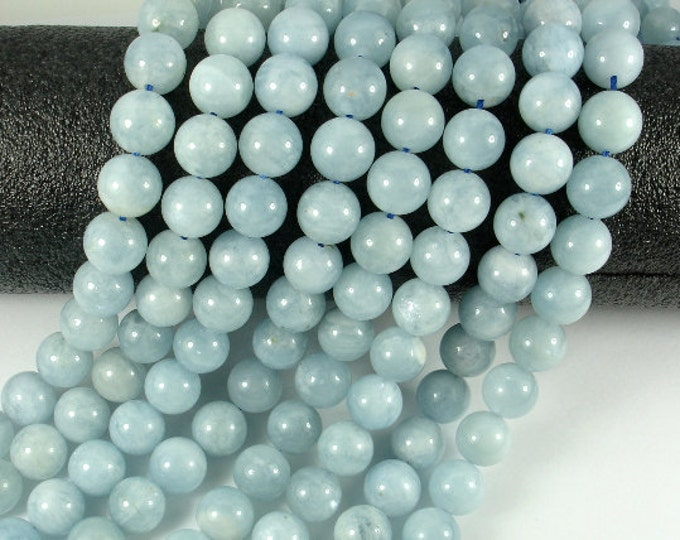 Genuine Aquamarine Beads, 10mm Round Beads, 15.5 Inch, Full strand, Approx 40 beads, Hole 1 mm, A quality (123054019)
