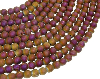 Druzy Agate Beads, Purple Gold Geode Beads, 6mm (6.5 mm) Round Beads, 15.5 Inch, Full strand, Approx 62 beads, Hole 1mm (122054211)
