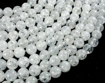Crackle Clear Quartz Beads, 8mm Round Beads, 15 Inch, Full strand, Approx 49 beads, Hole 1mm (198054022)