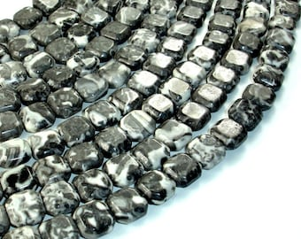 Gray Picture Jasper Beads, Square, 10 x 10 mm, 15.5 Inch, Full strand, Approx 38 beads, Hole 1 mm (141056001)
