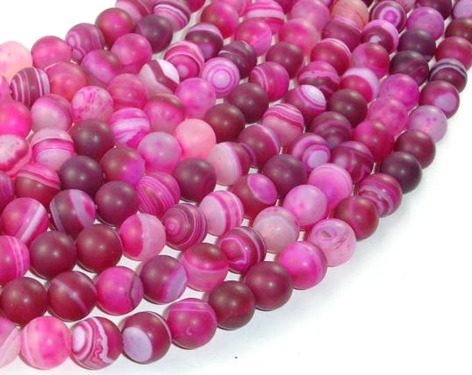 Matte Banded Agate Beads, Fuchsia Agate, 8mm(8.4mm) Round Beads, 15.5 Inch, Full strand, Approx 48 beads, Hole 1mm (132054039)