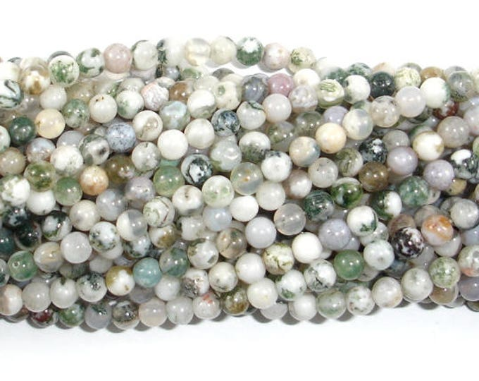 Tree Agate Beads, 4mm (4.5mm) Round Beads, 15 Inch, Full strand, Approx 86 beads, Hole 0.8mm (428054001)