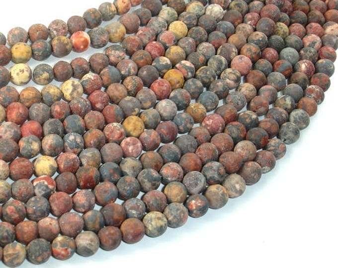 Matte Leopard Skin Jasper Beads, 6mm Round Beads, 15 Inch, Full strand, Approx 64 beads, Hole 0.8mm (306054015)