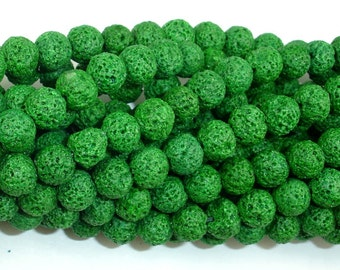 Green Lava Beads, Round, 8mm (8.5 mm), 15.5 Inch, Full strand, Approx 49 beads, Hole 1 mm (300054040)