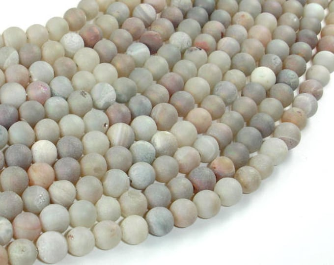 Druzy Agate Beads, Geode Beads, 6mm(6.5mm) Round Beads, 15 Inch, Full strand, Approx 62 beads, Hole 1 mm (122054247)