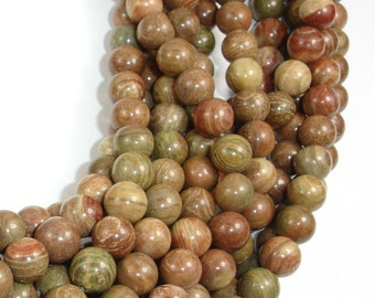 Saturn Jasper Bead, 8mm (8.7 mm) Round Beads,15.5 Inch, Full strand, Approx 46 beads, Hole 1 mm, A quality (398054002)