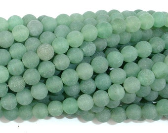 Matte Green Aventurine Beads, 6mm (6.4 mm) Round Beads, 15.5 Inch, Full strand, Approx 65 beads, Hole 1 mm, A quality (249054011)