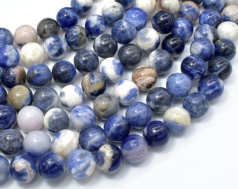 Sodalite Beads, 10mm (10.5mm) Round Beads, 15 Inch, Full strand, Approx 37 beads, Hole 1mm, AB quality (411054024)