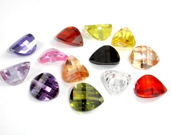 CZ beads, Cubic Zirconia Beads, 10x12mm Faceted Wedged Drop Beads, 4 pieces, Hole 0.8mm, A Grade (PNS1012)