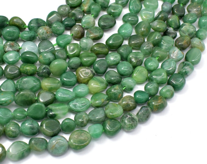 Verdite, African Jade, 6x8mm Nugget Beads, 15.5 Inch, Full strand, Approx 45-50 beads, Hole 1mm (106047001)