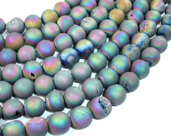 Druzy Agate Beads, Peacock Geode Beads, Approx 10 mm(10.5 mm) Round Beads, 15 Inch, Full strand, Approx 37 beads, Hole 1 mm (122054177)