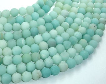 Matte Amazonite Beads, 8mm(8.2mm) Round Beads, 15.5 Inch, Full strand, Approx 49 beads, Hole 1 mm (111054037)