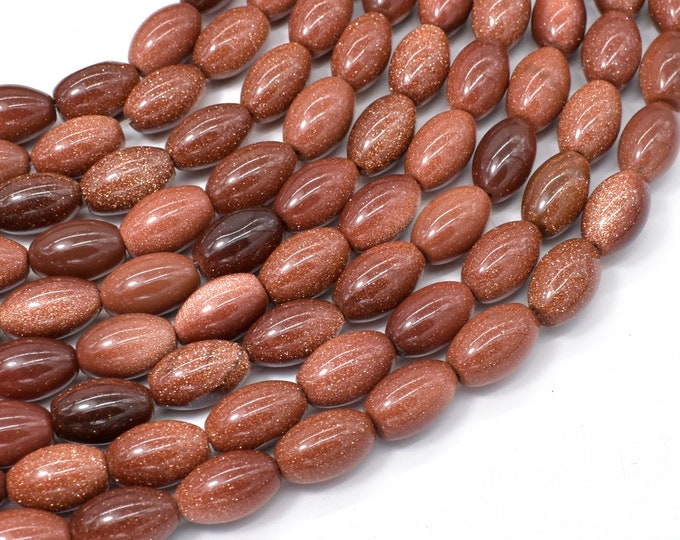 Goldstone Beads, 8x12mm Rice Beads, 16 Inch, Full strand, Approx 34 beads, Hole 0.8mm (237052001)