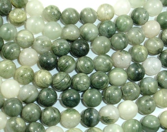 Green Line Quartz Beads, 8mm(8.3mm)Round,, 15.5 Inch, Full strand, Approx 49 beads, Hole 1 mm (258054002)